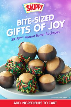 Peanut Butter Buckeyes, Skippy Peanut Butter, Peanut Butter Recipes, Christmas Snacks, Christmas Cooking, Christmas Candy, Holiday Baking, Christmas Desserts, Delicious Desserts