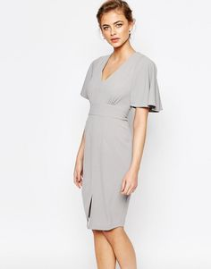 Image 1 of Closet Midi Dress with Angel Sleeve