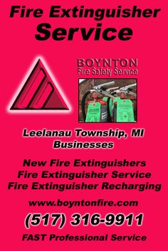 Fire Extinguisher Service Leelanau Township, MI (517) 316-9911  We're Boynton Fire Safety Service.. The Main Source for Fire Protection for Michigan Businesses. Call Today!  We would love to hear from you.