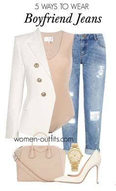 6 chic ways to wear boyfriend jeans - Find more outfit ideas for women at women-outfits.com