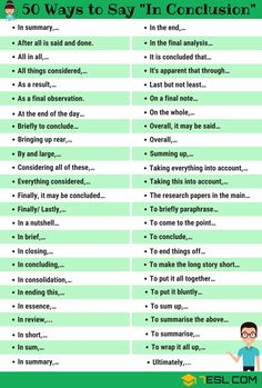 In Conclusion Synonym! List of other ways to say In Conclusion in English with ESL picture. Learn these synonyms for in conclusion to improve your vocabulary and fluency in English. Essay Writing Skills, Ielts Writing, English Writing Skills, Writing Words, Teaching Writing, Improve English Writing, Improve Writing Skills, English Speaking Skills, Thesis Writing