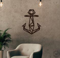 Metal Wall Art geometric Anchor steel Home Decor Scandi style Interior Sign Office Idea Gift Living