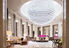 The Corinthia Crystal Moon Lounge is at the heart of the hotel, offering the best afternoon tea in London, served by the light of a Baccarat Crystal chandelier.