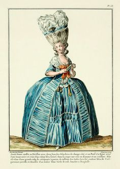 """1778 French Fashion Plate: This dress is listed as """"Grande Robe de Ceremonie a Panie"""" (Grand Ceremony Dress with Paniers)"""