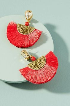 Add a statement to your look with earrings from Anthropologie. Discover our collection of unique hoop, drop, chandelier, cluster and post earrings for women. Thread Jewellery, Tassel Jewelry, Fabric Jewelry, Diy Jewelry, Jewelry Design, Women Jewelry, Fashion Jewelry, Jewelry Making, Red Earrings