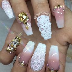 Sexy Nails, Dope Nails, 3d Nails, Coffin Nails, Nail Manicure, Elegant Nails, Stylish Nails, French Nails Glitter, Chrom Nails