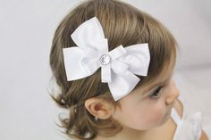for my little lady.. White Wedding Hair Bow  Flower Girl White Hair by SweetestBugBows, $7.00