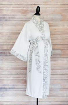 Gray Damask Maternity Kimono Style Robe- Coordinate as a Birthing Robe with your Maternity Hospital Gown -So Soft & Perfect for nursing