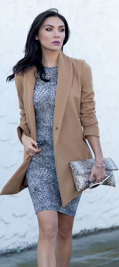 Love the mix of long camel jacket and animal print dress and handbag. Through The Cracks by Say Hello Max. #work wear. #spring  fall. via #thedailystyle