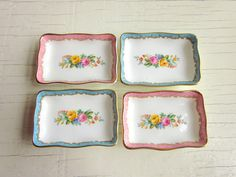 butter pats set of 4 fine bone china by Crown by FaithandFranny, $24.00