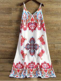 Printed Camisole Midi Dress - WHITE S
