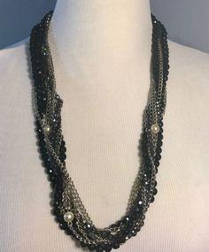 J. CREW Multi Mixed Strand Chain Pearl Rhinestone Crystal  Beads Chunky Necklace #JCrew #Statement