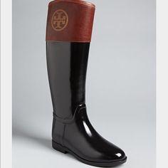 LAST CHANCEHPTory Burch Riding Rain Boots Tory Burch Brown Riding Rain Boots Diana. Brand New without tags. No box. $200 Tory Burch Shoes Winter & Rain Boots