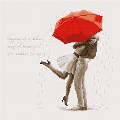 Lovers in the rain (Cross stitch chart)