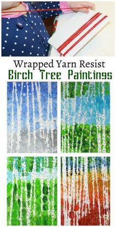 Wrapped yarn resist birch tree paintings for every season. Kids arts and crafts projects. Inspired by artist Gustav Klimt #artsandcrafts #ParentingArt