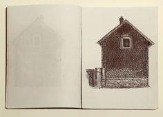 - Bertille Bak, Cité n°5, 2007. Stylo bille noir sur papier, 21 x 15 cm. Collection FRAC Aquitaine.     © Jean-Christophe Garcia.