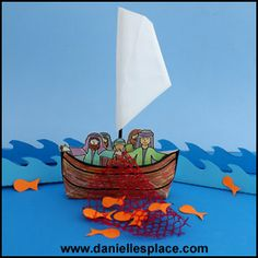 Envelope Boat Bible Craft for Sunday school - The Miraculous Catch of Fish -  directions on  www.daniellesplace.com