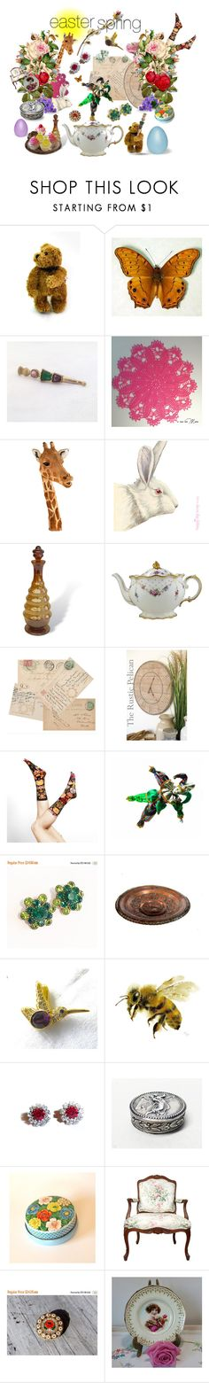 """easter spring"" by seasidecollectibles ❤ liked on Polyvore featuring AMBRE, Royal Crown Derby, Rustico and vintage"