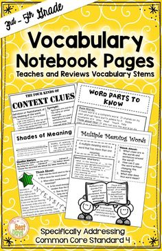 Are you looking for a fun and easy way to introduce or review they types of vocabulary upper grade students need to know?  These print and go pages fit into student notebooks and provide everything they need to know about these four types of vocabulary!  Context clues, word parts, shades of meaning, and multi-meaning words are covered.  Get them now from The Best Days!