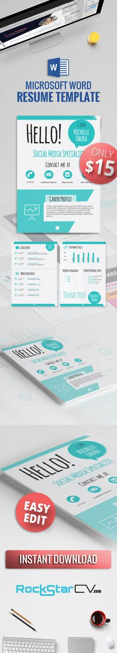★ Creative Resume Berenices ★  ❑ Word #Editable #Resume #Template  ❑ Easy Edit ❑  A perfect match for a #creative professional, the Berenices #Resume Template boldly showcases your professional background in an out-of-box, cheerful presentation. The #visual elements blend #harmoniously within an attentively crafted #design meant to both serve as #functional and #outstanding.  http://rockstarcv.com/product/berenices-resume-template/