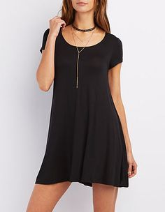 Scoop Neck Trapeze Shift Dress: Charlotte Russe
