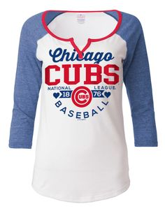 Chicago Cubs Ladies Tri-Blend Split Neck Jersey by 5th and Ocean  #ChicagoCubs #Cubs #FlyTheW