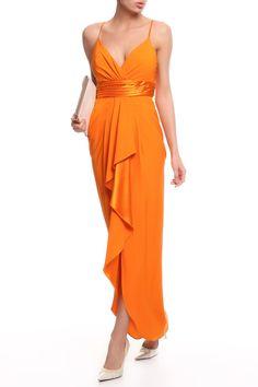 приталенное оранжевое платье с юбкой длины макси Wrap Dress, Dresses, Fashion, Special Occasion Dresses, Gowns, Moda, Fashion Styles, Wrap Dresses, Dress