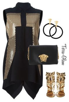 """""""Life Is Golden"""" by terra-glam ❤ liked on Polyvore featuring Rick Owens, Giuseppe Zanotti and Versace"""