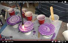 DIY: How To Make Resin Geode Coasters - keramik İdeen Epoxy Resin Art, Diy Resin Art, Diy Resin Crafts, Diy Arts And Crafts, Diy Crafts To Sell, Selling Crafts, Fun Craft, Easy Crafts For Kids, Craft Ideas