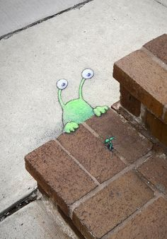 Since he doesn't own a car, Sluggo waits for other kinds of green signals - David Zinn
