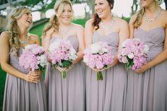 Pastel purple bridesmaids with pink peony bouquet | Jonathan David Photography