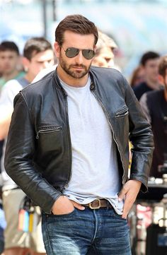 Bradley Cooper--aviators, white T, denim jeans, flyboy jacket