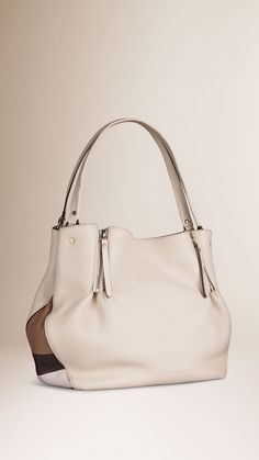 Medium Check Detail Leather Tote Bag | Burberry