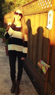 Fall ready: Oversized sweater (h&m), black skinny jeans (h&m), combat boots (Cathy jean)