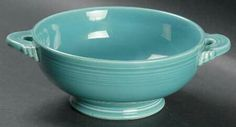 Turquoise cream soup bowl