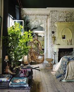 Boho goals from Pinterest. I particularly love the black wall and ceiling mixed…