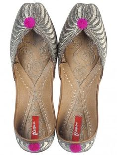 Silver - Pink Embroidered Zari Mojris by Finesse
