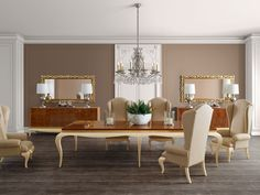 Luxus beige and brown dining room  Jetclass | Real Furniture Luxury Interior Design. Flooring and wall color.