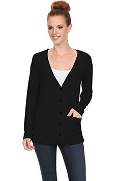 2LUV Womens VNeck Boyfriend Style Button Down Cardigan black S S8259 *** Check out the image by visiting the link. (This is an affiliate link)