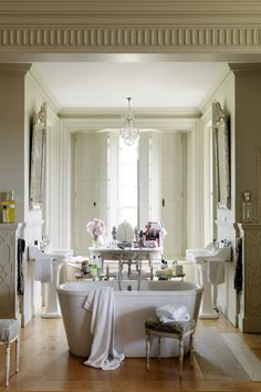 French-style grand bathroom ... look at all the gorgeous architectural details!