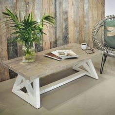 Handcrafted & Hand painted, this large wooden coffee table features trestle style legs. Rustic white painted living room table comes with Free UK Delivery! Living Room Paint, Living Room Furniture, Stylish Coffee Table, Coffee Tables, Reclaimed Wood Coffee Table, Rustic White, Extendable Dining Table, Rustic Table, Furniture Making