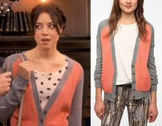 Parks and Rec season 5: April's (Aubrey Plaza) coral BDG Prep School Colorblock Cardigan from Urban Outfitters #parksandrec #getthelook