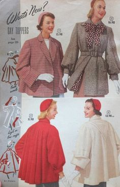 Vintage Fashion History of Coats and Jackets: 1952 Half Coats or Box Coats swing back tie belt red grey white pink wool winter short - Your guide to vintage style coats: swing coat, top coat, box coats, swagger coats, rain coats 1950s Fashion Dresses, Vintage Fashion 1950s, Vintage Fur, Vintage Mode, 50 Fashion, Fashion History, Retro Fashion, Fashion Outfits, 1950s Style