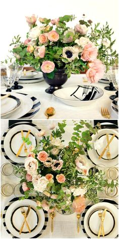Rose Quartz, one of Pantone's colors for 2016, reflects the muted tones that have been popular for floral arrangements over the past decade. Paired with classic black and white table settings and gold flatware, the soft pink adds a subtle yet refreshing touch.