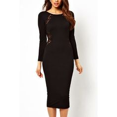 Black Long Sleeve Lace Back Bodycon Midi Dress (400 ARS) ❤ liked on Polyvore featuring dresses, black, evening cocktail dresses, cocktail dresses, long-sleeve midi dresses, sexy evening dresses and sexy bodycon dresses