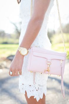 Summer Outfit - All white lace dress & Rebecca Minkoff Mini Mac in light pink