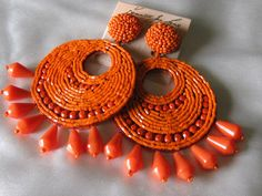 Kenneth Jay Lane Large Orange Beaded Gypsy Disc Clip on Earrings