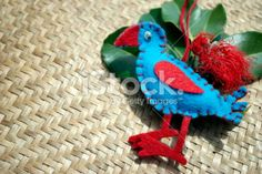 New Zealand Christmas; Pukeko, Kete and Pohutakawa Flower Royalty Free Stock Photo Christmas Images Free, Christmas Time, Christmas Ornaments, Kiwiana, Turquoise Water, Christmas Background, Flower Photos, New Zealand, Royalty Free Stock Photos