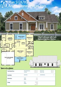 Architectural Designs Craftsman House Plan 51747HZ gives you 3 beds and an optional outdoor kitchen on the back covered porch. Over 1,600 square feet of living all on one level.  Ready when you are. Where do YOU want to build?
