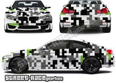 digital camouflage car graphics shown on a BMW Digital Camo, Bmw M4, Car Wrap, Cars And Motorcycles, Camouflage, Wraps, Racing, Graphics, Running